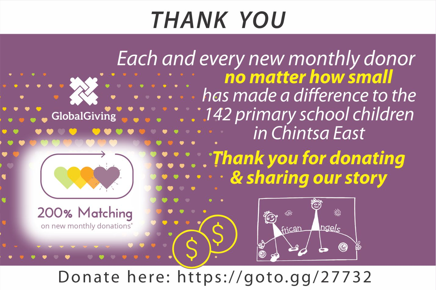 Global Giving 200% matching campaign thanks